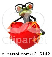 Clipart Of A 3d Bespectacled Green Business Springer Frog Facing Slightly Left Hugging A Red Love Heart Royalty Free Illustration