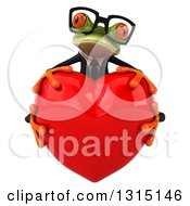 Clipart Of A 3d Bespectacled Green Business Springer Frog Hugging A Red Love Heart Royalty Free Illustration