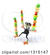 Clipart Of A 3d Green Business Springer Frog Wearing Sunglasses Facing Left And Balancing Fruit Royalty Free Illustration