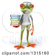 Clipart Of A 3d Green Springer Frog Sailor Holding A Stack Of Books Royalty Free Illustration