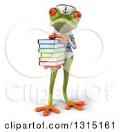 Clipart Of A 3d Green Springer Frog Sailor Holding A Stack Of Books 2 Royalty Free Illustration