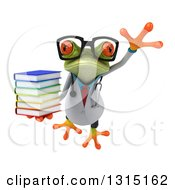 Clipart Of A 3d Bespectacled Green Doctor Springer Frog Leaping And Holding A Stack Of Books Royalty Free Illustration