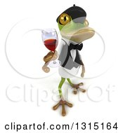 Clipart Of A 3d French Waiter Frog Facing Right And Holding Up A Glass Of Red Wine Royalty Free Illustration by Julos