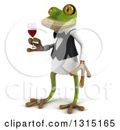 Clipart Of A 3d French Waiter Frog Facing Left And Holding A Glass Of Red Wine Royalty Free Illustration by Julos