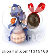 Clipart Of A 3d Purple Dragon Holding Up A Thumb And A Chocolate Easter Egg Royalty Free Illustration