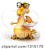 Clipart Of A 3d Bespectacled Yellow Dragon Presenting And Holding An Open Book Royalty Free Illustration
