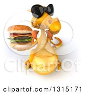 Clipart Of A 3d Yellow Dragon Wearing Sunglasses And Holding Up A Double Cheeseburger Royalty Free Illustration