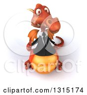 Clipart Of A 3d Red Business Dragon Holding Up A Thumb Royalty Free Illustration