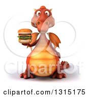Clipart Of A 3d Red Dragon Holding A Double Cheeseburger Royalty Free Illustration