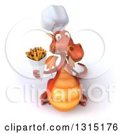 Clipart Of A 3d Red Dragon Chef Holding Up French Fries Royalty Free Illustration