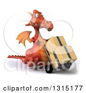Clipart Of A 3d Red Dragon Walking Slightly Right Moving Boxes On A Dolly Royalty Free Illustration