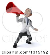 Clipart Of A 3d Young Black Male Doctor Announcing Upwards With A Megaphone Royalty Free Illustration