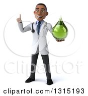 Clipart Of A 3d Young Black Male Naturopathic Doctor Holding Up A Finger And A Green Medicine Or Tincture Drop Royalty Free Illustration