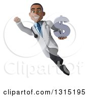 Clipart Of A 3d Young Black Male Doctor Flying With A Usd Currency Symbol Royalty Free Illustration