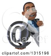 Clipart Of A 3d Young Black Male Doctor Holding An Email Arobase At Symbol Around A Sign Royalty Free Illustration