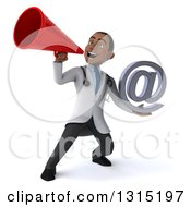 Clipart Of A 3d Young Black Male Doctor Holding An Email Arobase At Symbol And Using A Megaphone Royalty Free Illustration