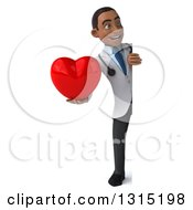 Clipart Of A 3d Full Length Young Black Male Doctor Holding A Heart Around A Sign Royalty Free Illustration