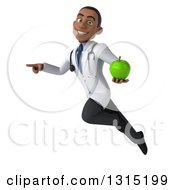 Clipart Of A 3d Unhappy Young Black Male Nutritionist Doctor Flying Pointing To The Left And Holding A Green Apple Royalty Free Illustration