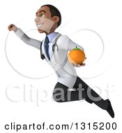 Clipart Of A 3d Unhappy Young Black Male Nutritionist Doctor Flying Up To The Left And Holding A Navel Orange Royalty Free Illustration