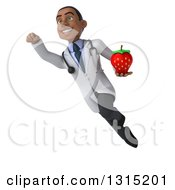 Clipart Of A 3d Unhappy Young Black Male Nutritionist Doctor Flying And Holding A Strawberry Royalty Free Illustration