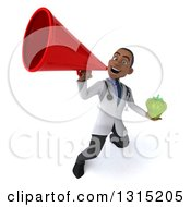 Clipart Of A 3d Unhappy Young Black Male Nutritionist Doctor Holding A Green Bell Pepper And Announcing Upwards With A Megaphone Royalty Free Illustration