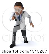 Clipart Of A 3d Young Black Male Doctor Looking Down And Searching With A Magnifying Glass Royalty Free Illustration