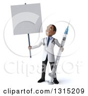 Clipart Of A 3d Young Black Male Phlebotomist Doctor Holding A Giant Vaccine Syringe Holding And Looking Up At A Blank Sign Royalty Free Illustration