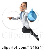 Clipart Of A 3d Young Brunette White Male Doctor Flying Pointing To The Left And Holding A Water Droplet Royalty Free Illustration