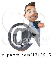 Clipart Of A 3d Young Brunette White Male Doctor Holding An Email Arobase At Symbol Around A Sign Royalty Free Illustration