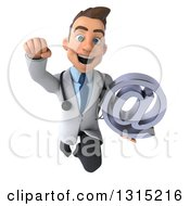 Clipart Of A 3d Young Brunette White Male Doctor Flying And Holding An Email Arobase At Symbol Royalty Free Illustration