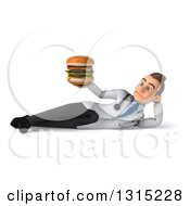 Clipart Of A 3d Unhappy Young Brunette White Male Nutritionist Doctor Resting On His Side And Holding A Double Cheeseburger Royalty Free Illustration