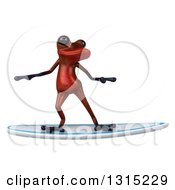 Clipart Of A 3d Red Springer Frog Surfing 2 Royalty Free Illustration