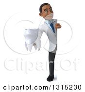 Clipart Of A 3d Full Length Young Black Male Dentist Holding A Giant Tooth Around A Sign Royalty Free Illustration by Julos