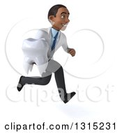 Clipart Of A 3d Young Black Male Dentist Sprinting To The Right And Holding A Giant Tooth Royalty Free Illustration by Julos