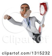 Clipart Of A 3d Young Black Male Dentist Flying And Holding A Giant Toothbrush Royalty Free Illustration by Julos