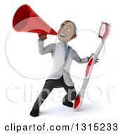 Clipart Of A 3d Young Black Male Dentist Holding A Giant Toothbrush And Using A Megaphone Royalty Free Illustration by Julos