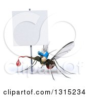 Clipart Of A 3d West Nile Virus Mosquito Wearing A Hat Under A Blank Sign Royalty Free Illustration by Julos