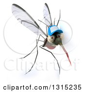 Clipart Of A 3d West Nile Virus Mosquito Wearing A Hat Around A Sign Royalty Free Illustration