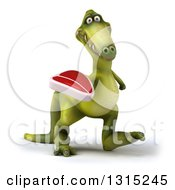 Clipart Of A 3d Green Dinosaur Walking Slightly Right And Holding A Beef Steak Royalty Free Illustration