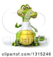 Clipart Of A 3d Casual Crocodile Wearing A White T Shirt Giving A Thumb Up Royalty Free Illustration
