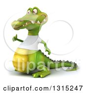 Clipart Of A 3d Casual Crocodile Wearing A White T Shirt Facing Left And Giving A Thumb Up Royalty Free Illustration
