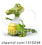 Clipart Of A 3d Casual Crocodile Wearing A White T Shirt Pointing To The Left Royalty Free Illustration