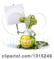 Clipart Of A 3d Casual Crocodile Wearing A White T Shirt Holding Up And Looking At A Blank Sign Royalty Free Illustration