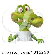 Clipart Of A 3d Casual Crocodile Wearing A White T Shirt And Giving A Thumb Up Over A Sign Royalty Free Illustration