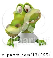 Clipart Of A 3d Casual Crocodile Wearing A White T Shirt And Pointing Down Over A Sign Royalty Free Illustration