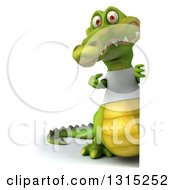 Clipart Of A 3d Full Length Casual Crocodile Wearing A White T Shirt And Pointing Around A Sign Royalty Free Illustration