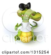 Clipart Of A 3d Casual Crocodile Wearing Sunglasses And A White T Shirt Holding Up A Thumb Royalty Free Illustration