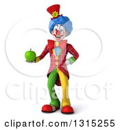 Clipart Of A 3d Colorful Clown Holding A Green Apple Royalty Free Illustration