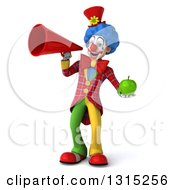 Clipart Of A 3d Colorful Clown Holding A Green Apple And Announcing With A Megaphone Royalty Free Illustration