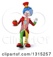 Clipart Of A 3d Colorful Clown Walking Waving And Holding A Strawberry Royalty Free Illustration